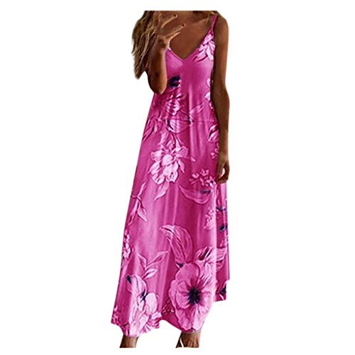 Ansenesna Kleid Blumen Damen Lang V Ausschnitt Elegant Träger Sommerkleid Frauen Sommer Maxikleid Mit Spagettiträger Strandkleider (Pfirsich rot,M)