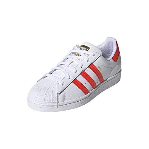 adidas Originals Women's Superstar Shoes Sneaker, White/Solar Red/Scarlet, 6.5