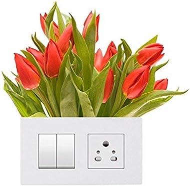 DreamKraft Decorative Switch Sticker (Light Switches 'Flowers' Sticker)- Set of 4