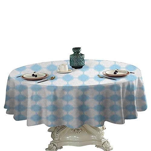Quatrefoil Dinning Tabletop Decoration Blue and White Mosaic with Arabesque Culture Influences in Ancient Tile Art Outdoor Picnics Round Tablecloth 45 inch