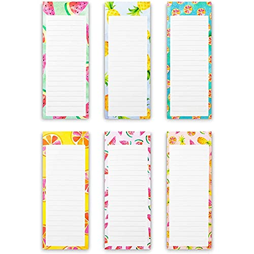 Magnetic Fridge Notepads for Grocery, Shopping to-Do Lists, Memos, Fruit Design (6 Pack)