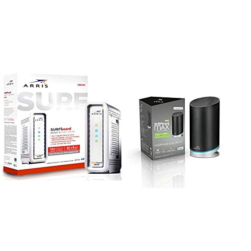 ARRIS Surfboard Gigabit Docsis 3.1 Cable Modem, 10 Gbps Max Speed and ARRIS Surfboard mAX Plus Mesh AX7800 Wi-Fi 6 AX Router (W30)