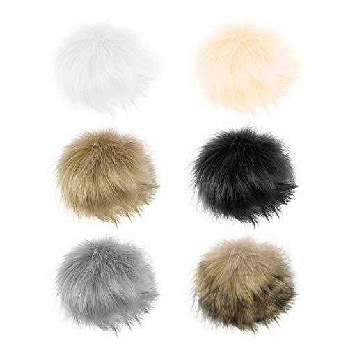 SUPVOX 12 STÜCKE Fuchspelz Flauschigen Pompon Ball mit Verdeckte Taste Fau für Hüte Mützen Schuhe Schals Tasche Charme Zubehör