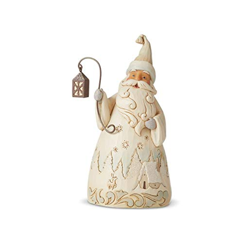 Heartwood Creek 6006584 Figurine di Babbo Natale con Lanterna Bianco