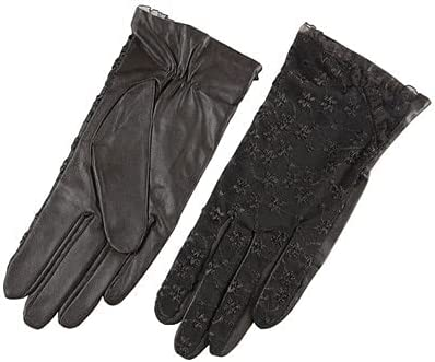 WuyueSun Fashion Brand Lace Genuine Leather Gloves Women sheepskin Gloves Mittens Ladys Outdoor Sunscreen Driving Gloves