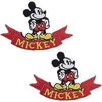 ミッキー ミニー ディズニー ワッペン 2枚セット キャラクター アイロン接着 デコ アイロンワッペン 手芸 かわいい わっぺん Disney WAPPEN wappen アップリケ あっぷりけ (1Dl400-Dl42)