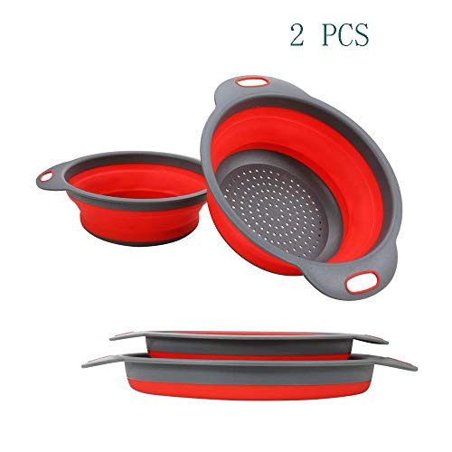 WeTest Collapsible Colanders with Handles FoodGrade Silicone Kitchen Strainer SpaceSaving Design For Pasta Red