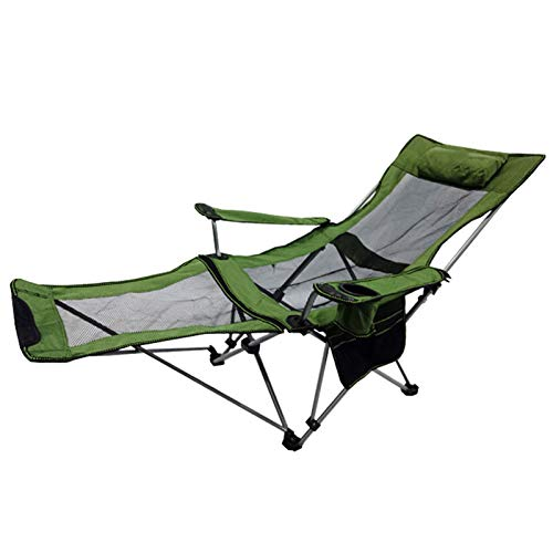 MHIBAX Outdoor Folding Chair Portable Recliner Lunch Break Chair Accompany Bed Leisure Camping Beach Fishing Stool 53 * 53 * 80cm A Green (net Surface)