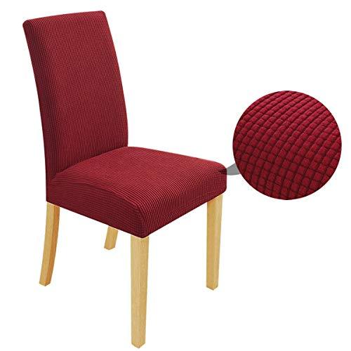 Speedsporting Fundas para sillas elásticas, desmontables, lavables, para sillas de comedor, juego elástico, moderno protector con goma (burdeos, 6 unidades)
