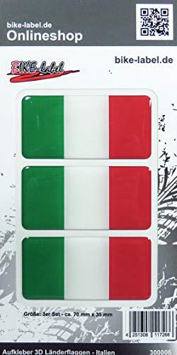Bike Label 300006N Aufkleber 3D Länder-Flaggen Italien Italy 3 Stck je 70 x 35mm