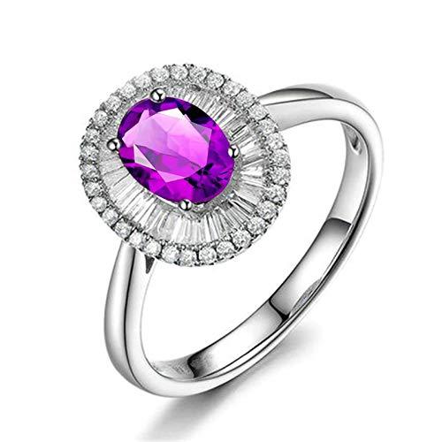 Bishilin Alianza de Boda S925 Plata de Ley Anillo de Mujer Clásico Moderno Púrpura Oval Moda Cristal Piedra Natal de Febrero Anillo de Compromiso Bandas Plata Talla: 21