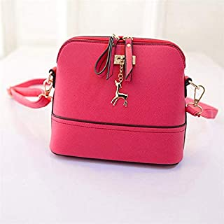 Fashion Single-Shoulder Bags Women Shoulder Bags Messenger Bag Leather Small Shell Bag Crossbody Bag Deer Spliced Collision Color Bag(Black) (Color : Rose red)