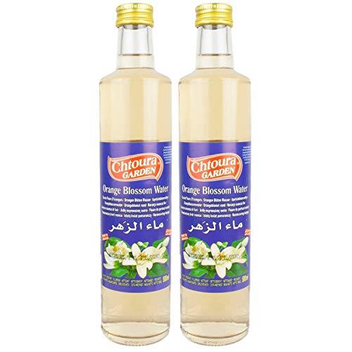 Chtoura Garden - Orientalisches Orangenblütenwasser ideal zum Backen und Kochen - Blütenwasser zur Aromatisierung von Süßspeisen, Backwaren und Getränken im 2er Set á 500 ml Glasflasche