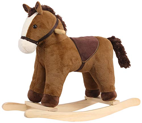ROCK MY BABY Plush Rocking Horse, Soft Filling Ride on Pony, Rocking Animal, Stuffed Rocker for Kids 18 Months and up (Dark Brown)