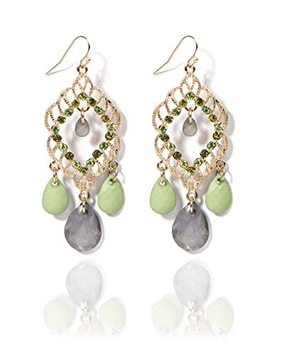 VintFlea Pendiente de gota y colgante de cristal de filigrana verde para mujer