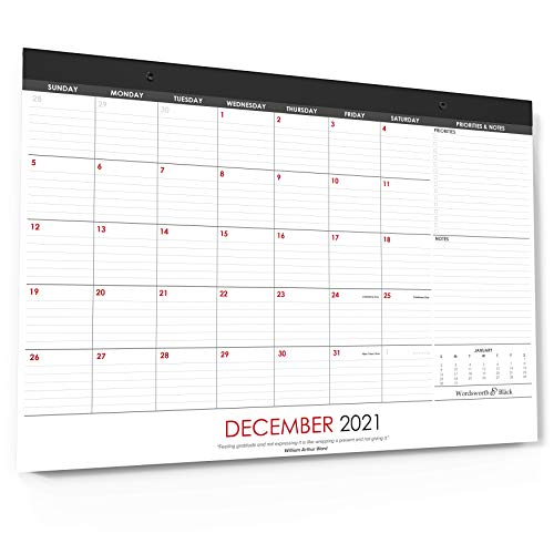 Wordsworth Black 2021 Monthly DeskWall Calendar 21 x 17- Desktop Pad Blotter with Notes Section - Academic -Family- Business - Perfect for Planning and Organizing for Home or Office Large