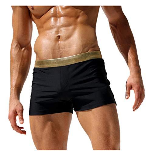 Xmiral Herren Sommer Mini Badeshorts Fitness Persönlichkeit Bad Shorts für Strand Schwimmen Taschen Boxer Bad Shorts(2- Schwarz,M)