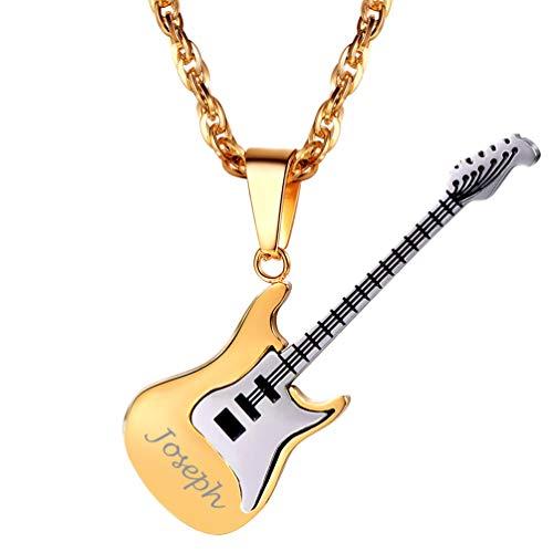 PROSTEEL Engraved Guitar Necklace Men 18K Gold Plated Gift for Boyfriend