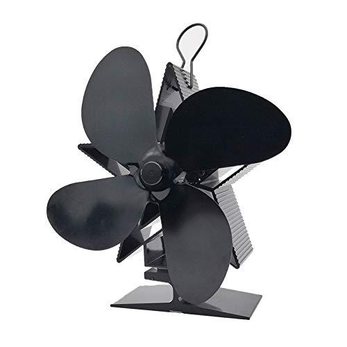 Bidet Estufa Ventilador, Negro Chimenea 4 Cuchillas Estufa de Calor accionada Ventilador silencioso Inicio Chimenea eficaz Ventilador de distribución de Calor Estufa de Calor del Ventilador accionado