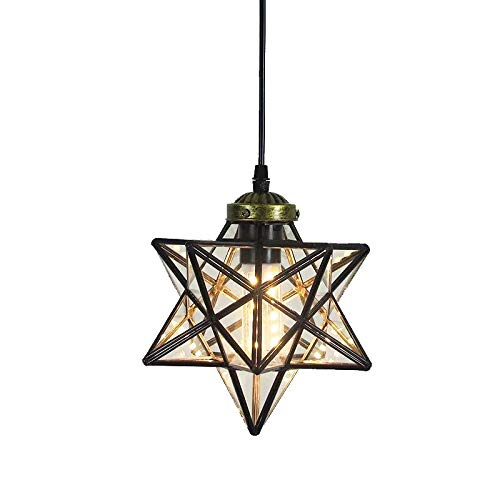 Paralume a forma di stella, in vetro trasparente, per lampadario da corridoio, porta, bar, camera da letto, ristorante, salone, illuminazione per la casa Glass Pendant Light