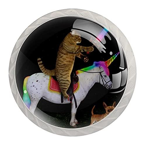 Bouton de tiroir Poignée de tirage 4 pièces Le tiroir d'armoire en verre cristal tire les boutons de placard,La licorne épée chat arc-en-ciel