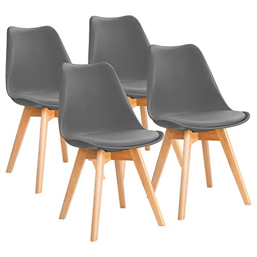 Furniwell Dining Chairs Mid Century Modern DSW Chair Upholstered Side Kitchen Chairs with Wood Leg and Soft Padded Cushion Shell Tulip Chairs for Kitchen, Dining, Bedroom, Living Room Set of 4 (Gray)
