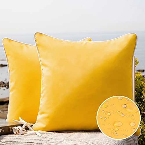 Phantoscope Pack of 2 Outdoor Waterproof Throw Pillow Covers Decorative Square Outdoor Pillows Cushion Case Patio Pillows for Couch Tent Sunbrella (18''x18'', Yellow)