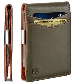 SERMAN BRANDS Money Clip Wallet - Mens Wallets slim Front Pocket RFID Blocking Card Holder Minimalist Mini Bifold  Salted Green Transformer
