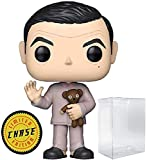 Funko Movies: Mr. Bean - Mr. Bean Pajamas with Teddy Bear Limited Edition Chase Pop! Vinyl Figure (Includes Compatible Pop Box Protector Case)