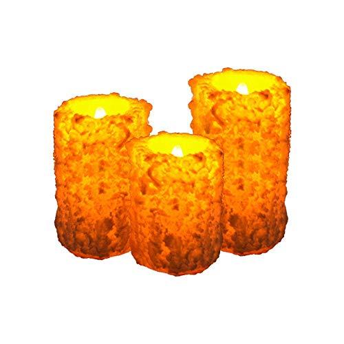 UWY Echte Kerzen Zylindrische Schneeflockenschale Led Elektronisches Kerzenlicht und Weihnachtslicht Gesteinsform Elektrische Kerzenleuchter
