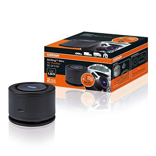 OSRAM AirZing Mini; purificatore d'aria per auto con presa USB, ionizzatore, distrugge virus e batteri nel veicolo fino al 99%, filtro TiO2 high-tech + luce LED UVA