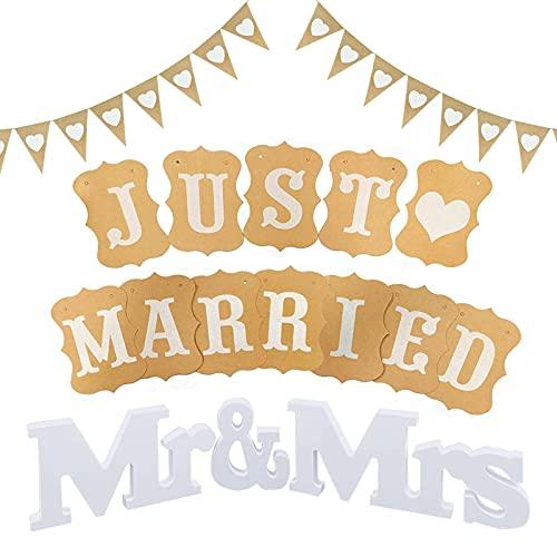 Just Married Girlande,Hochzeitsgirlande Set,MR & MRS Deko Buchstaben Hochzeit,Hochzeitsgirlande,Just Married Hochzeit Deko Set,Just Married Vintage für Deko Hochzeit Auto Tischdeko Brautpaar Zimmerdek