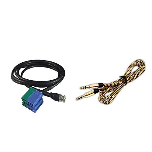 1neiSmartech Câble Auxiliaire Pour Fiat Bravo Depuis 2007 Radio Visteon Entrée Jack Femelle De 3,5 Mm Longueur 150 Cm + Câble Nylon Besync Couleur Or (Gold) Pour Mp3 Smartphone Iphone