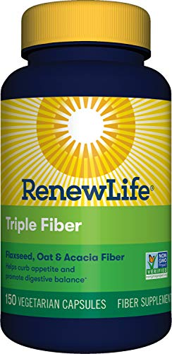Renew Life Adult Fiber Supplement - Triple Fiber - Dietary Fiber - Dairy & Soy Free - 150 Vegetarian Capsules, (Packaging May Vary)