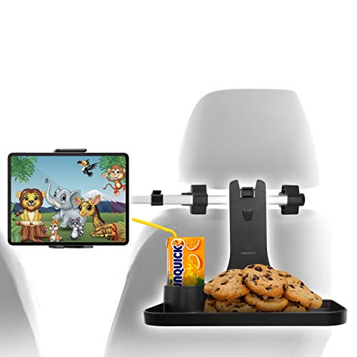 Macally Headrest Tablet Holder for Car with Table - Backseat Entertainment and Snacks for Kids - For Devices 4.5-10' Wide - 360° Rotatable iPad Car Mount with Folding Car Table and Extending Shaft