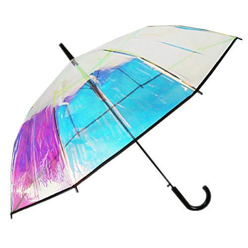 Dr. Neuser Damen Automatik Stockschirm Regenschirm Glockenschirm Schirm durchsichtig transparent irisierend 608 TPP