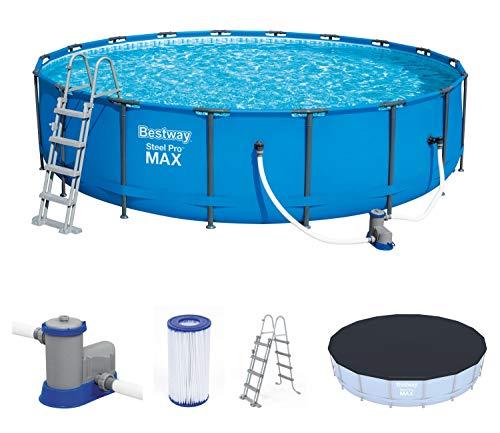 Bestway Steel Pro Max 549x122 cm, stabiler Frame Pool rund im Komplett Set, inklusive Filterpumpe, Sicherheitsleiter und PVC-Abdeckplane