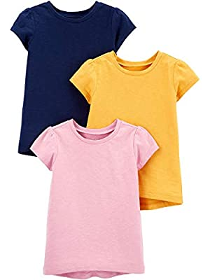 Simple Joys by Carter's Girls' Toddler 3-Pack Solid Short-Sleeve Tee Shirts, Navy/Pink/Gold, 3T