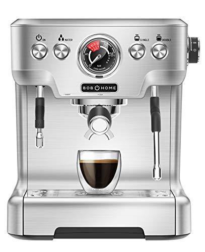 BOB HOME ESPRESSO CLUB - Macchina da caffè espresso, 20 bar, display a pressione, alloggiamento in alluminio pressofuso, montalatte, ugello per acqua calda, espresso con pulsante