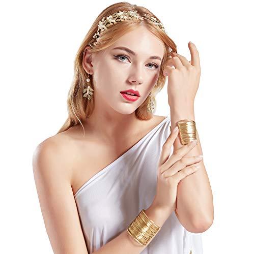 Coucoland Athene Kostüm Zubehör Set Damen Blatt Stirnband Haarreif Perlen Ohrringe Gold Spule Armband Exotisch Damen Göttin Fasching Kostüm Accessoires (Gold - Stil 2)