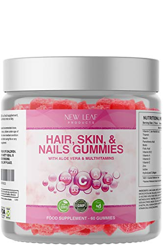 Hair Skin and Nails Gummy - Chewable Hair Growth, Nail Health & Skin Elasticity Vitamins - Beauty Supplements Fortified with Collagen & Multivitamins, Vegan, Non-GMO, 60 Gummies