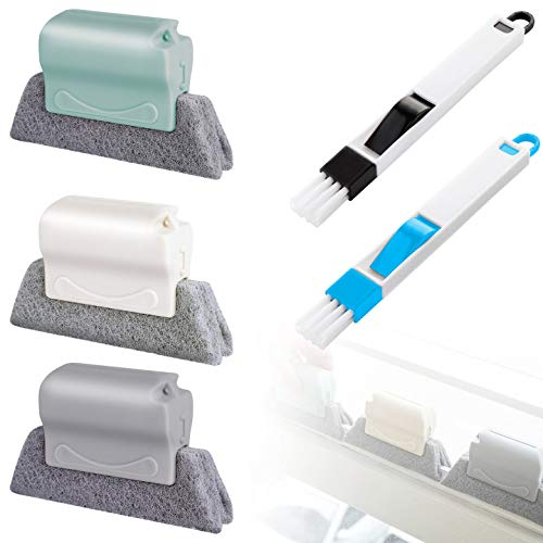 5 Pcs Window Cleaning Brush, Hand-Held Window Groove Cleaning Brush Scouring Pad Material Window Groove Cleaning Brush, Crevice Tool for Blind, Baseboard, Fan, Window or Sliding Door Track