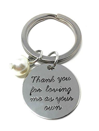 Silberton 'Danken Du Zum Liebend Mir Wie Ihre Besitzen' Graviert Anhänger Schlüsselring 2.2cm Durchmesser Adoptieren