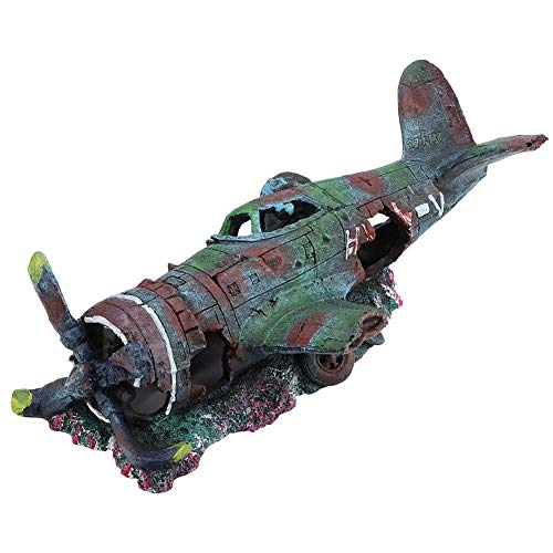 Vliegtuig Wrak Aquarium Ornament, Hars Beschadigde Jet Fish Tank Decoratie Landschap Grot Decor, klein