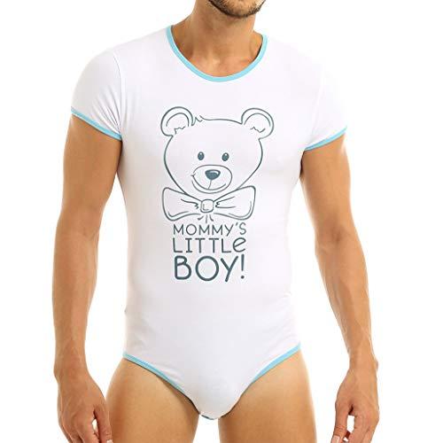 ACSUSS Men Adult Baby Mommy's Little Boy Print Press Crotch Leotard Bodysuit Romper Pajamas Blue X-Large