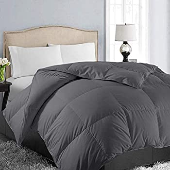 EASELAND All Season King Size Soft Quilted Down Alternative Comforter Reversible Duvet Insert with Corner Tabs,Winter Summer Warm Fluffy ,Dark Grey,90x102 inches