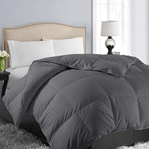 EASELAND All Season Queen Size Soft Quilted Down Alternative Comforter Hotel Collection Reversible Duvet Insert with Corner Tabs,Winter Warm Fluffy Hypoallergenic,Dark Grey,88 by 88 Inches