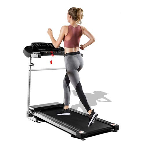 Merax Folding Treadmill, Desktop Electric Treadmill with LCD Display and Cup Holder, Easy to Assemble, Suitable for Home Office Jogging, Black