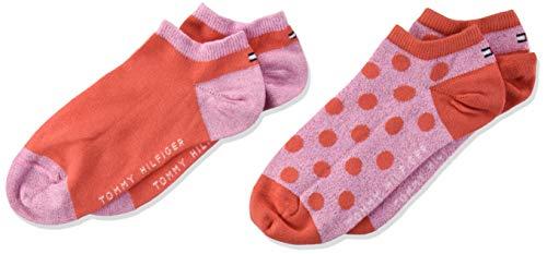 Tommy Hilfiger Mädchen TH KIDS SNEAKER 2P GIRLS DOT Füßlinge, Rot (Pink/Red 022), (Herstellergröße: 31-34) (2er Pack)