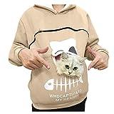 Reooly La Sudadera con Capucha Mujer con Capucha Animal Puede Llevar el Jersey Transpirable de Gato(Beige,Large)
